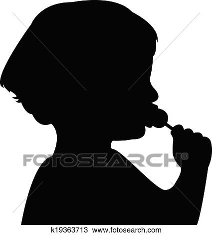 Clipart of a child eating candy silhouette k19363713 - Search Clip ...