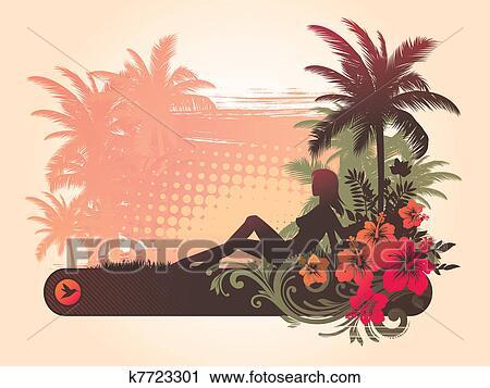 clipart hibiskus blumen silhouette von a m dchen auf a tropische landschaft. Black Bedroom Furniture Sets. Home Design Ideas