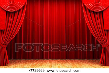 Stock Photograph   Red Velvet Curtain Opening Scene. Fotosearch   Search  Stock Photography, Posters