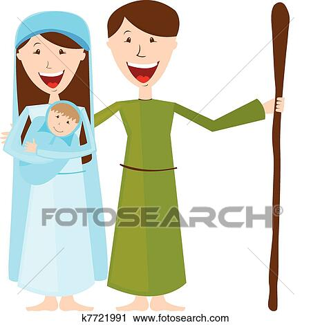 clipart of virgin mary st joseph and baby jesus k7721991 search rh fotosearch com mary and joseph donkey clipart mary and joseph clipart