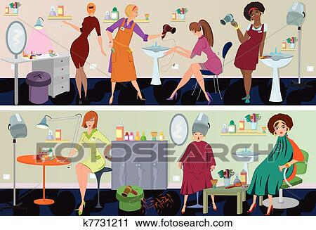 Clipart of beauty salon banner workers k7731211 search for Uniform spa vector