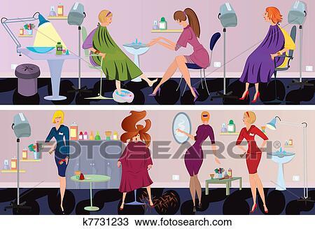 Clipart of beauty salon banner pedicure k7731233 search for Uniform spa vector