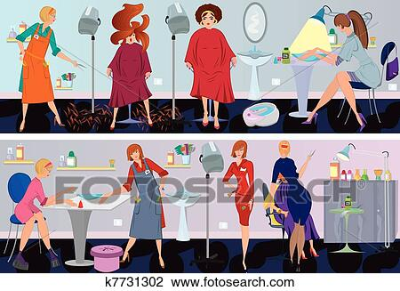 Clipart of beauty salon banner hair cut k7731302 search for Uniform spa vector