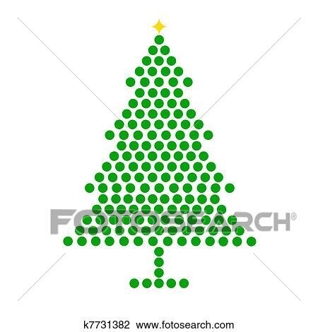 剪贴画 - 圣诞树, 点,