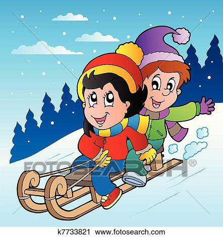 Clipart of Winter scene with kids on sledge k7733821 ...