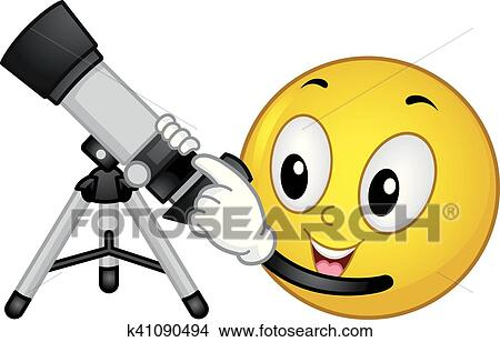 clipart of smiley astronomy refractor telescope k41090494 search rh fotosearch com Solar System Clip Art stargazing astronomy clipart