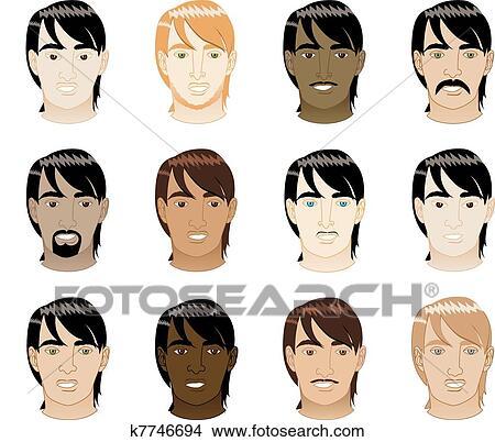 clipart cheveux droits faces hommes k7746694