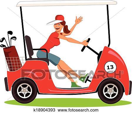 clipart of woman driving a golf cart k18904393 search clip art rh fotosearch com golf cart clip art cartoons Cartoon Golf Cart