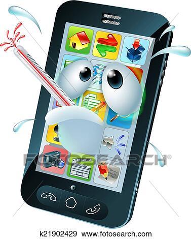 clipart virus mobile t l phone portable dessin anim k21902429 recherchez des cliparts. Black Bedroom Furniture Sets. Home Design Ideas