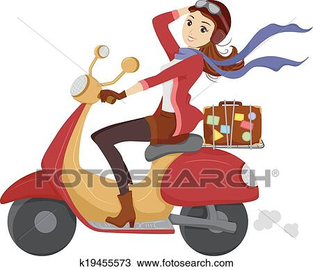 Clipart of Scooter Girl k19455573 - Search Clip Art ...