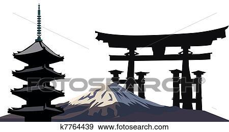 Clip Art Of Japanese Landmarks K7764439