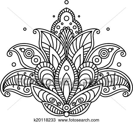 clipart of pretty ornate paisley flower design element