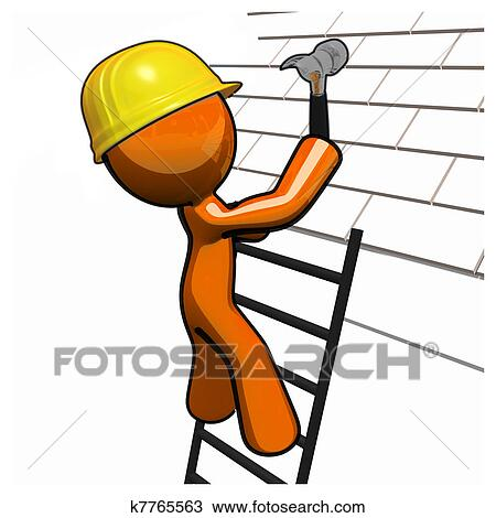 Drawing Of Orange Man Roofer With Hammer Hard Hat And Ladder