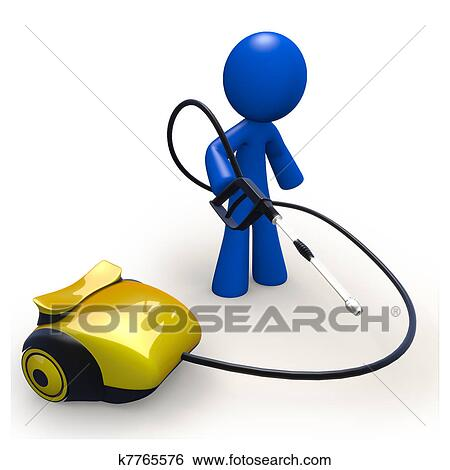 Stock Illustration of Blue man with pressure washing ...