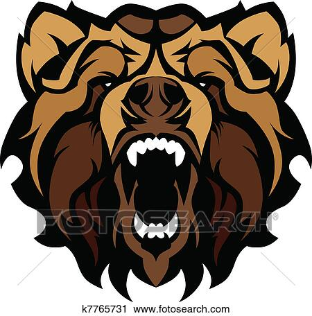 Grizzly Bear Mascot Head Vector Gra View Large Clip Art Graphic Grizzly Bear Face Logo