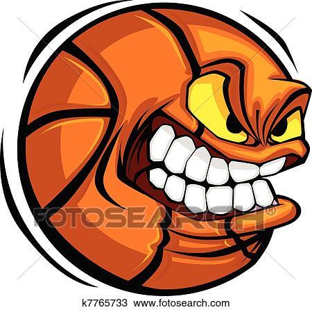 Clipart of Basketball Face Cartoon Ball Vector k7765733 - Search ...