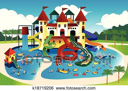 Clip Art Of People Going To Water Park K18719206