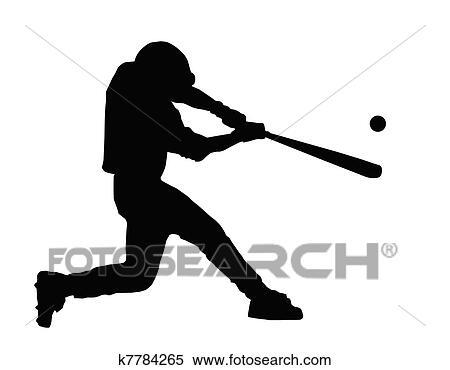 clipart of baseball batter hitting ball k7784265 search clip art rh fotosearch com Baseball Bat Clip Art Baseball Catcher Clip Art