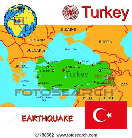 Clipart of Turkey map with epicenter earthquake. k7788662 - Search ...