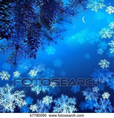 stock bild kunst weihnachtsbaum zweig auf a blau nacht himmel hintergrund k7790095. Black Bedroom Furniture Sets. Home Design Ideas
