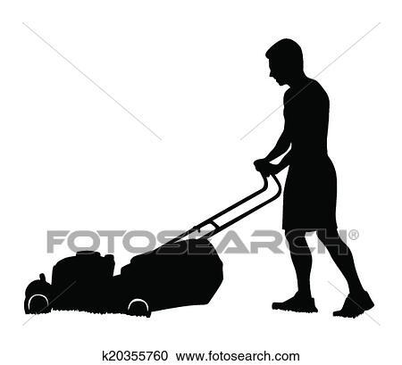 clipart of man cutting the grass k20355760 search clip art rh fotosearch com Cutting Grass Cartoon Funny Grass-Cutting
