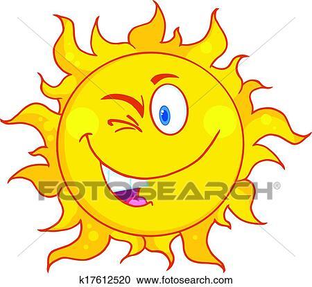 Clipart winked soleil dessin anim mascotte - Dessins soleil ...