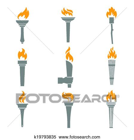 Clipart Of Fire Torch Icons K19793835