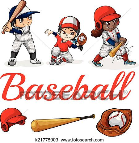 Clipart of Baseball players k21775003 - Search Clip Art ...