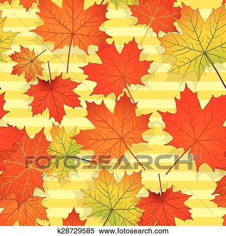 剪贴画 - seamless, 模式, 带, 色彩丰富, 枫树树叶图片