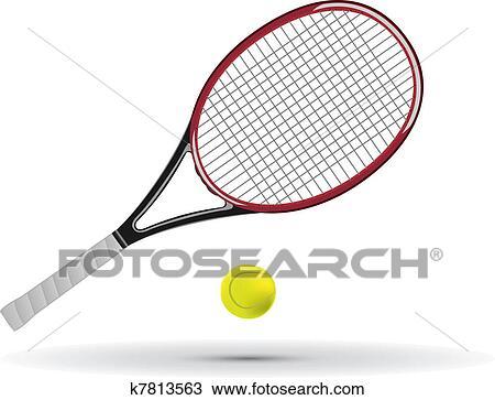 Clipart raquette tennis et balle k7813563 recherchez - Raquette dessin ...