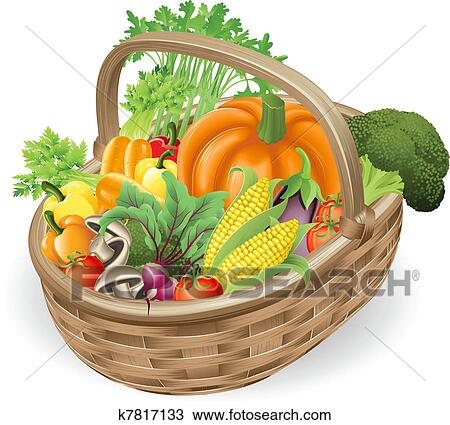 Clipart of Basket fresh vegetables k7817133 - Search Clip ...