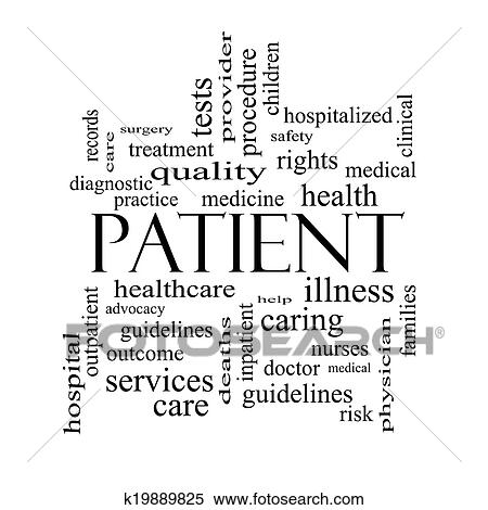 Stock Illustration of Patient Word Cloud Concept in black ...