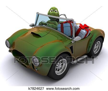 Banque d 39 illustrations tortue conduire voiture dons k7824627 recherche de cliparts au - Voiture tortue ...