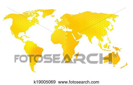 Clip art of world map vector illustration honeycomb pattern clip art world map vector illustration honeycomb pattern fotosearch search clipart gumiabroncs Image collections