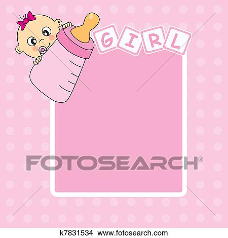 Clipart Of Baby Girl Arrival Announcement Card K Search - Baby arrival announcement