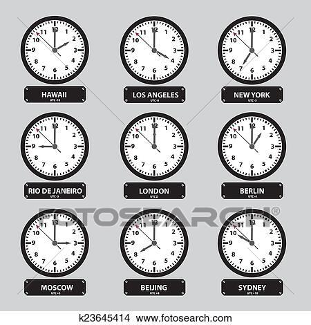 clipart fuseaux horaires noir blanc horloge ensemble eps10 k23645414 recherchez des clip. Black Bedroom Furniture Sets. Home Design Ideas