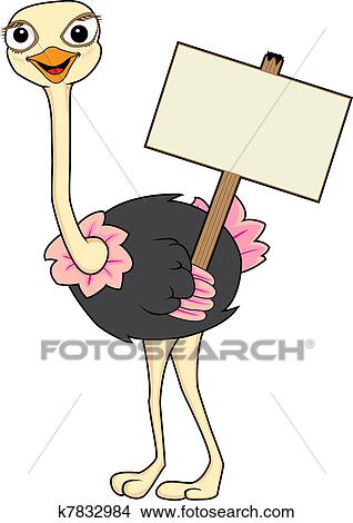 Clipart of Cute Ostrich holding a wooden sign k7832984 ...