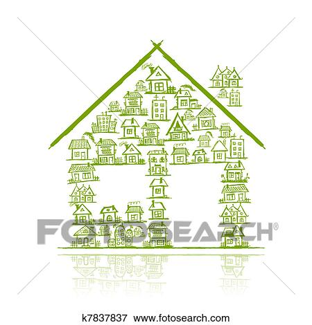 剪贴画 房子, 概念, 为, 你, 设计