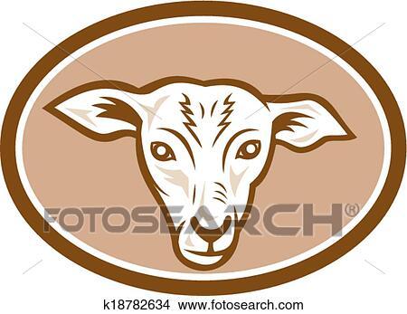 Clipart t te mouton ovale dessin anim k18782634 - Dessin tete de mouton ...