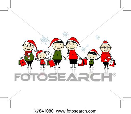 Clipart of Christmas shopping. Happy family together ...