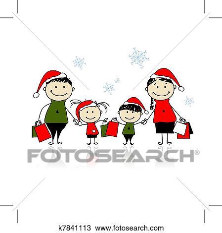 Clipart - weihnachten, gifts., familie, mit, einkaufstüten ...