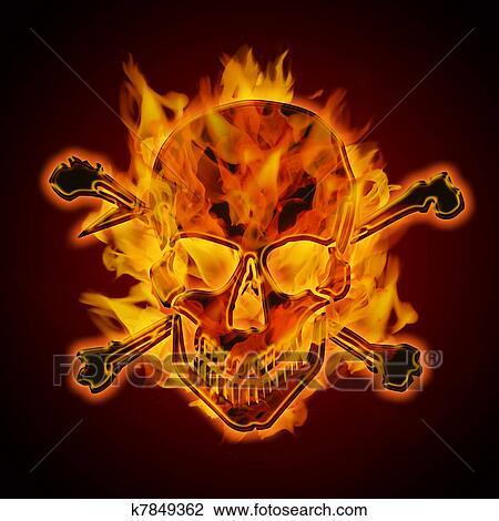 Clip Art of Fire Burning Flaming Metallic Skull with Crossbones ...