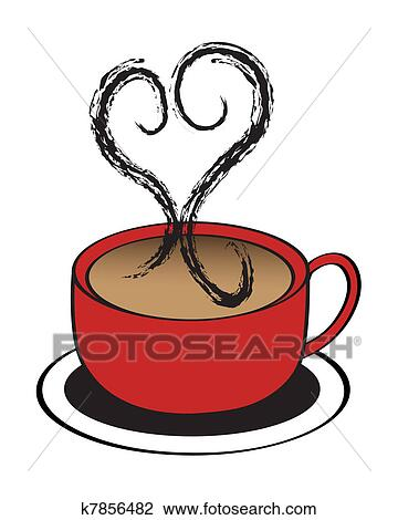 Clip Art Of Coffee Cup Heart K7856482 Search Clipart