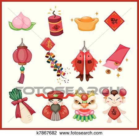 剪贴画 中国的新年, 装饰的元素
