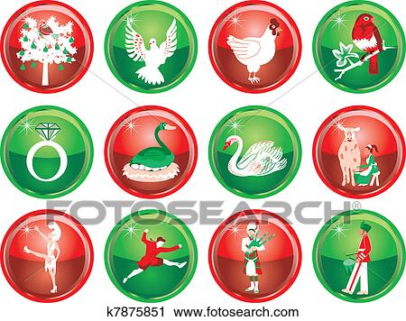 clipart of 12 days of christmas k7875851 search clip art rh fotosearch com 12 days of christmas web clipart 12 days of christmas web clipart