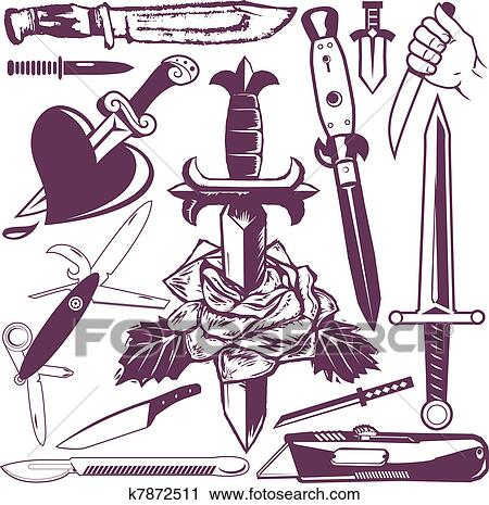 Clipart of Knife and Dagger Collection k7872511 - Search ...