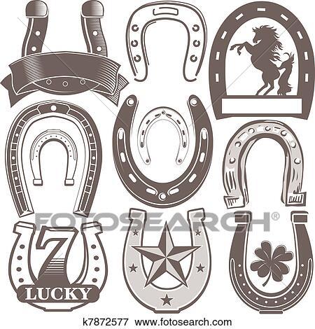 Clipart fer cheval collection k7872577 recherchez des - Dessin fer a cheval ...