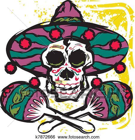 foto de Clip Art of Calavera Maracas k7872666 Search Clipart Illustration Posters Drawings and EPS