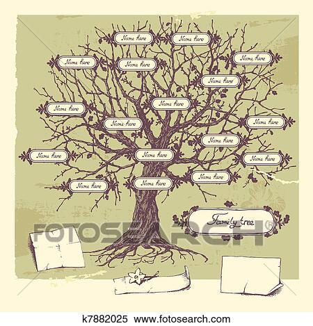 Vector illustration of family tree. Oak hand-drawn tree.