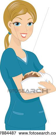 Clip Art of Nurse Holding Baby k7884487 - Search Clipart ...